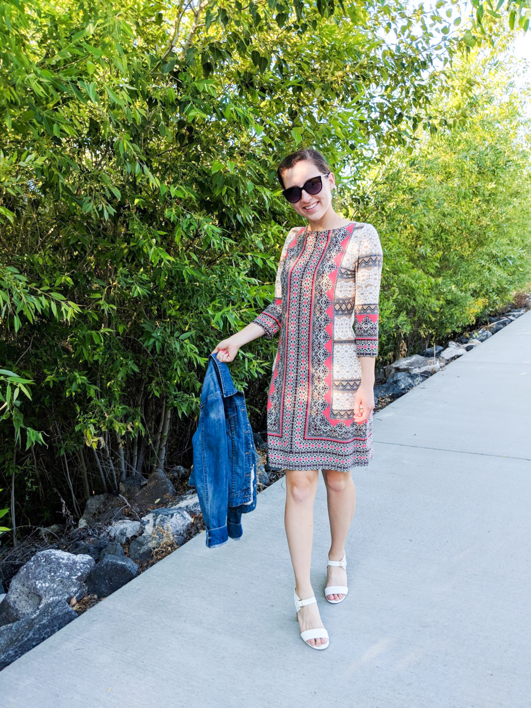 white heels, Easter dress, patterned dress, living coral