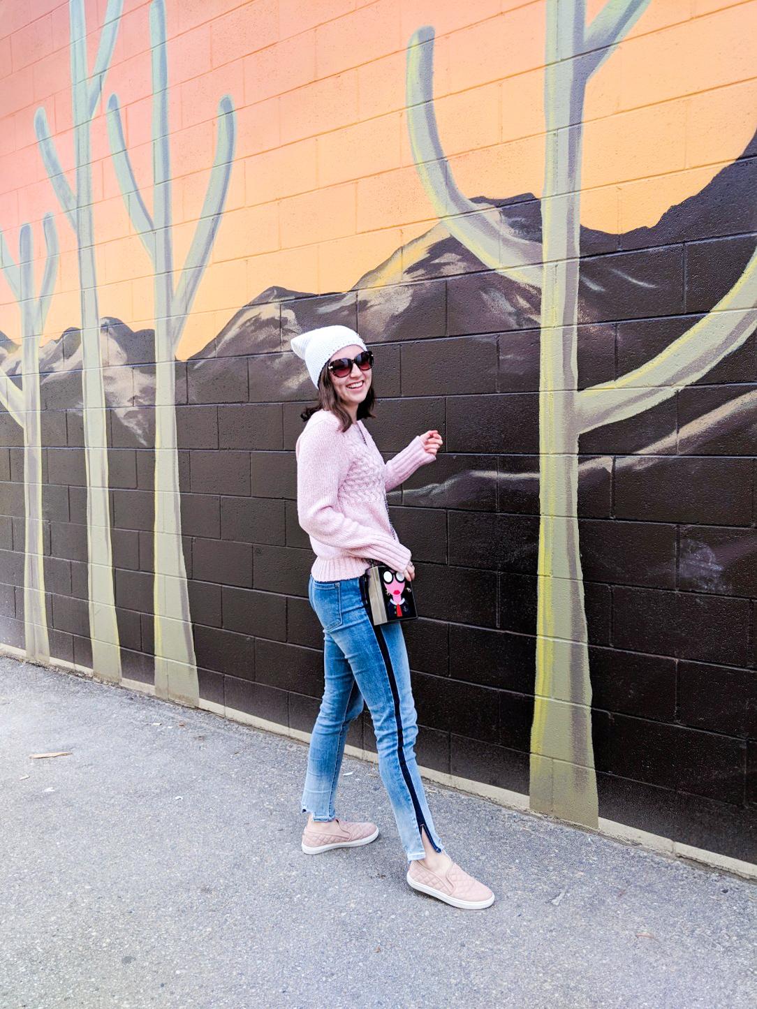 pink sweater, tuxedo stripe jeans, blush flats, street style