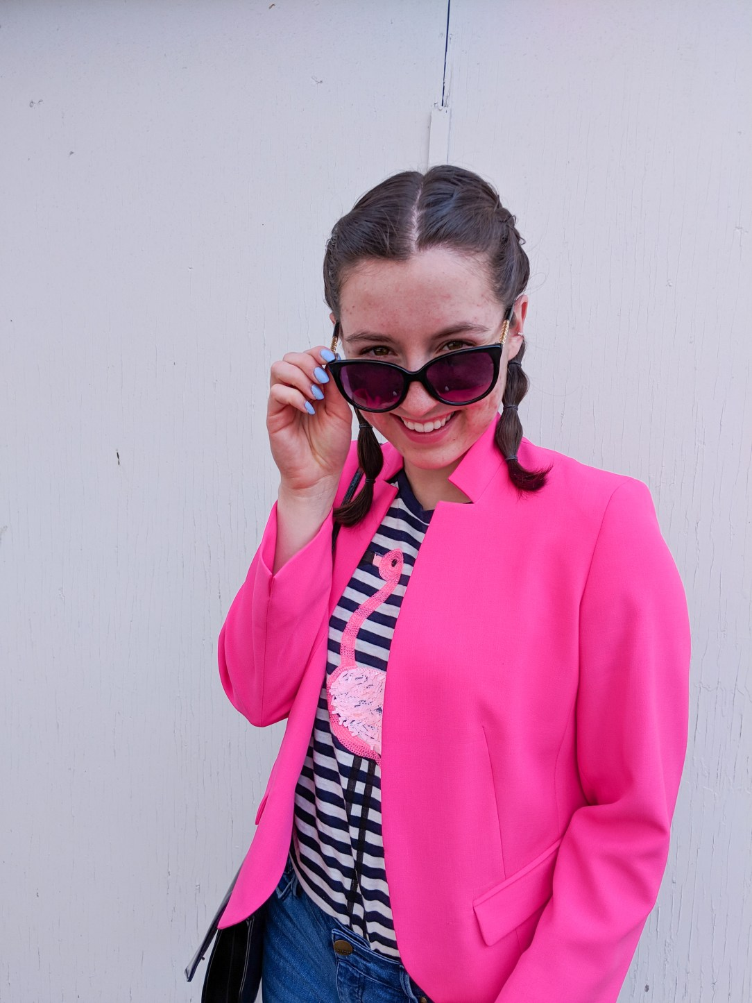 black sunglasses, pink blazer, flamingo tee