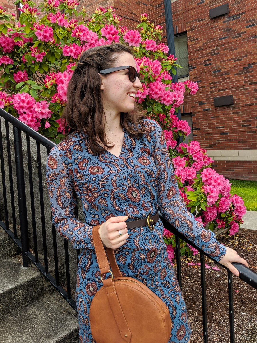 blue and brown Cabi patterned dress