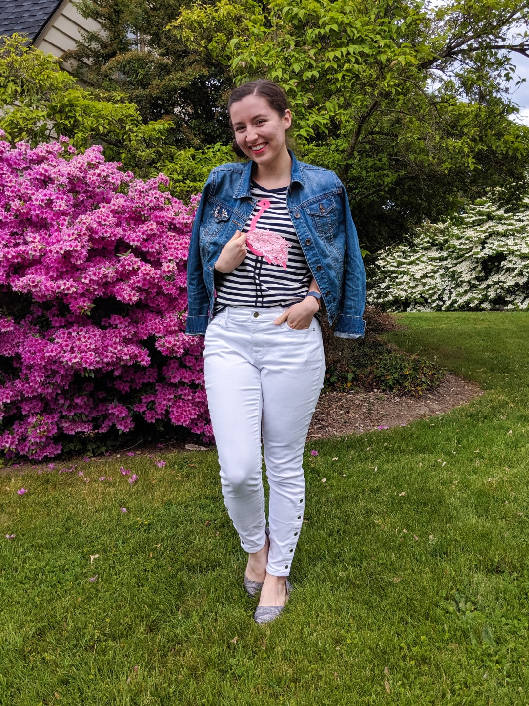 pink lipstick, white jeans, denim jacket