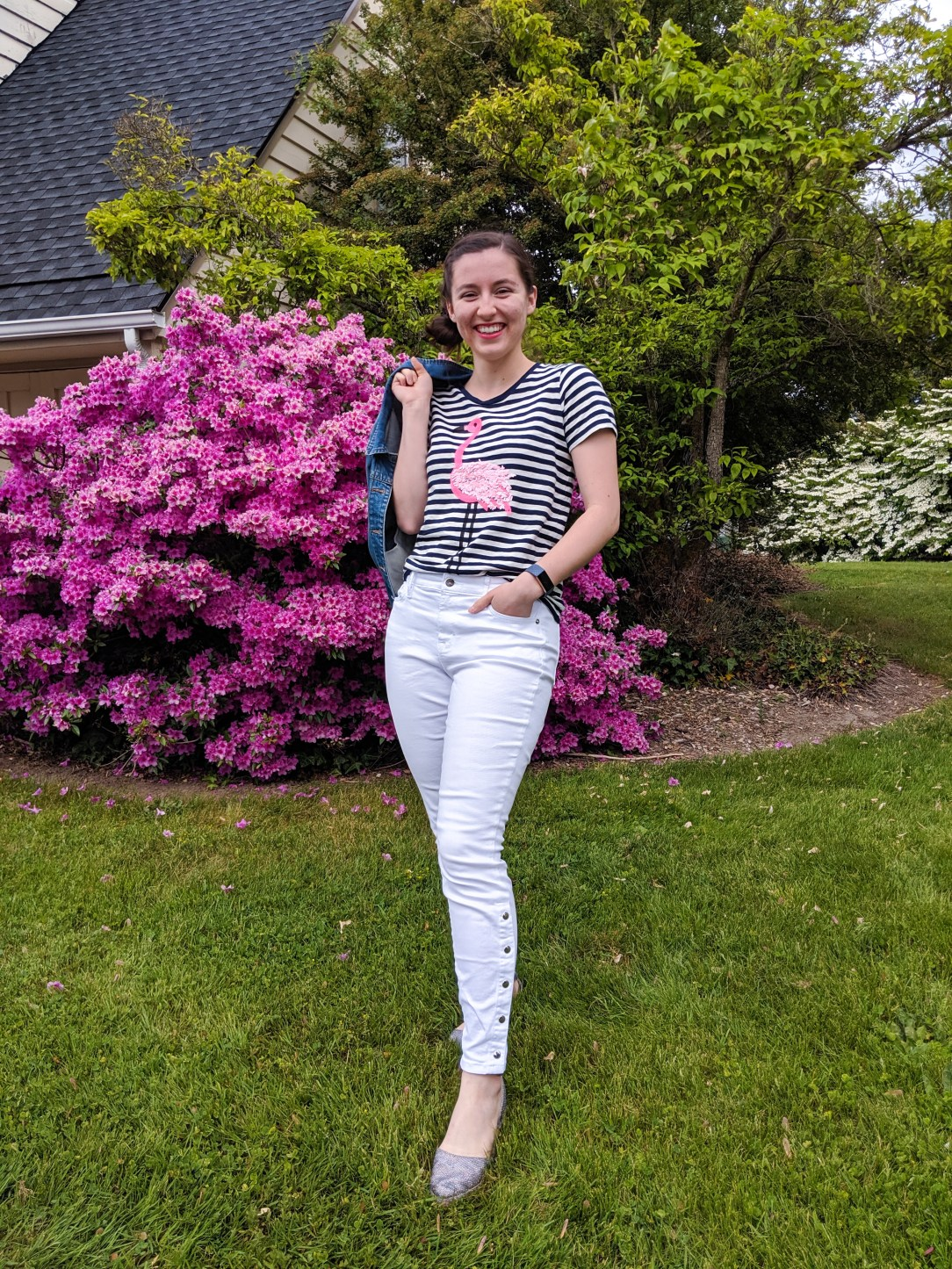 white jeans, striped flamingo tee, spring outfit