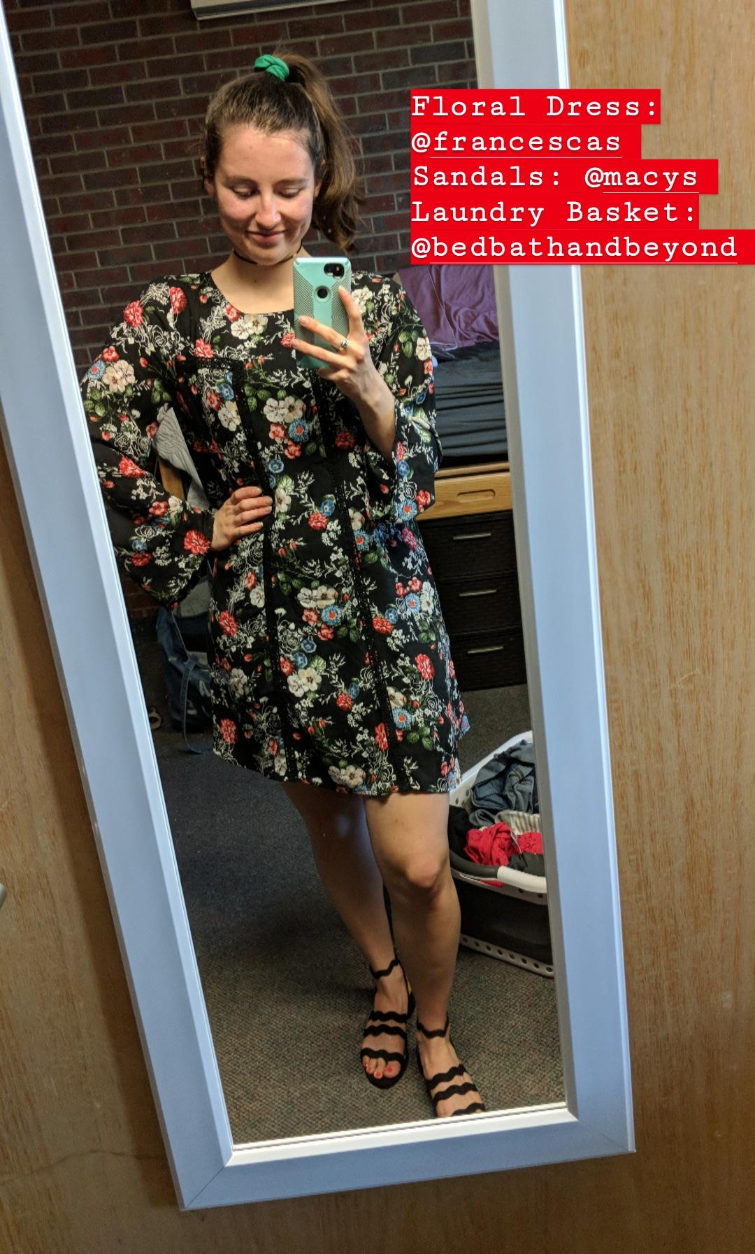 black floral dress, black wavy sandals