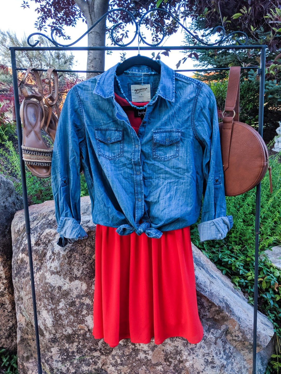 chambray top, orange sundress, brown accessories