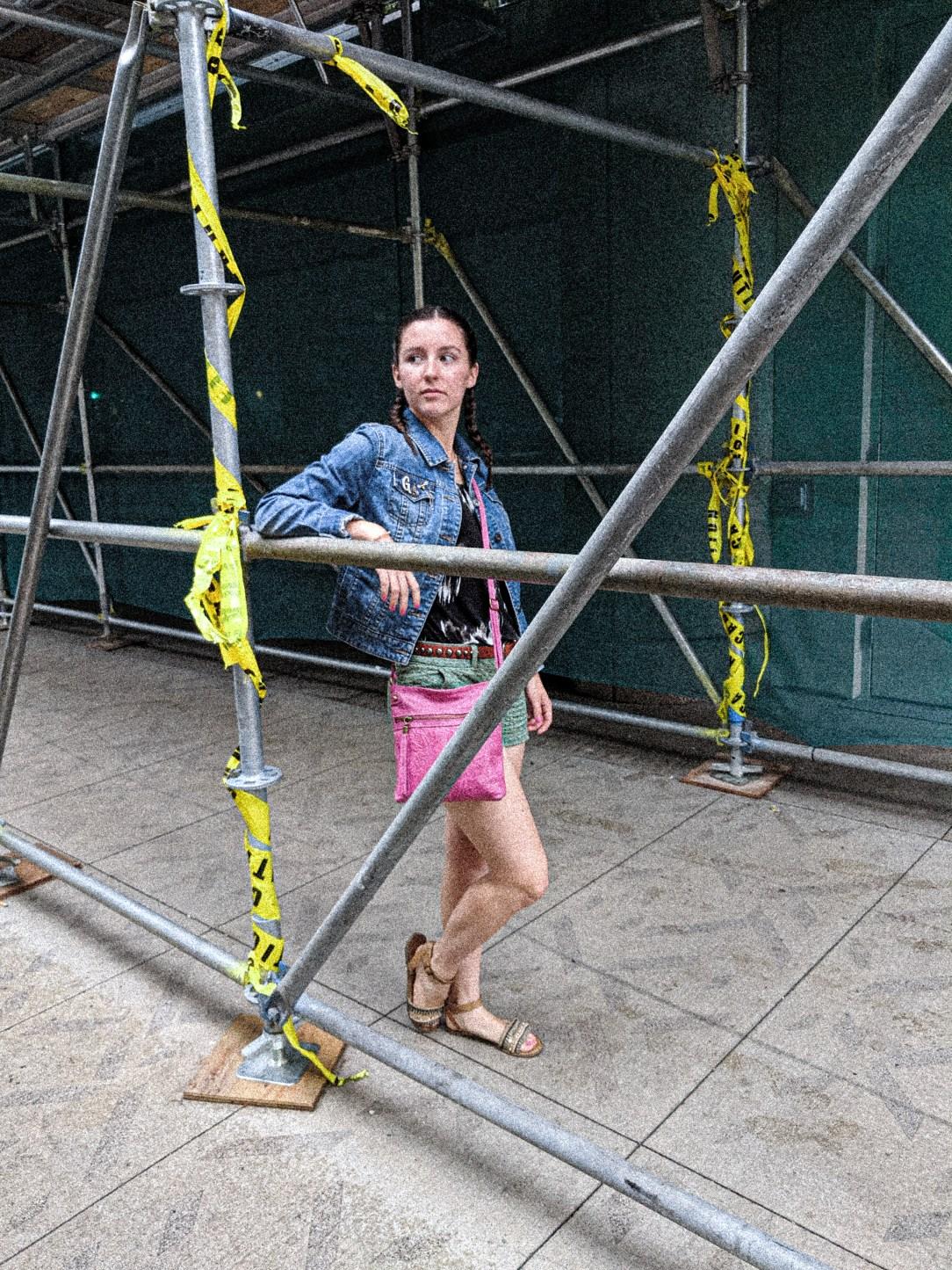 pink purse, Loft shorts, JCPenney jean jacket