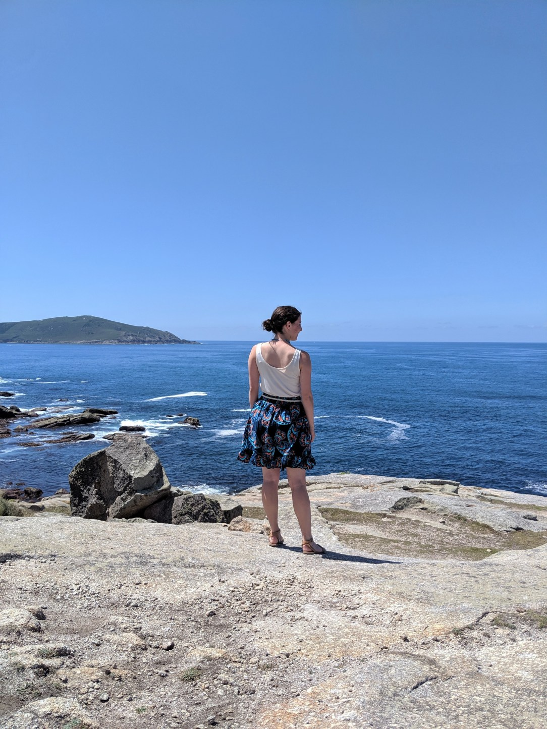 Muxia, Atlantic Ocean, patterned skirt, JCPenney, summer outfit