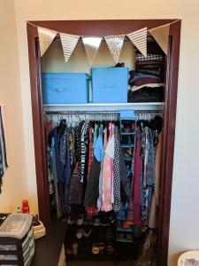 organized dorm room closet