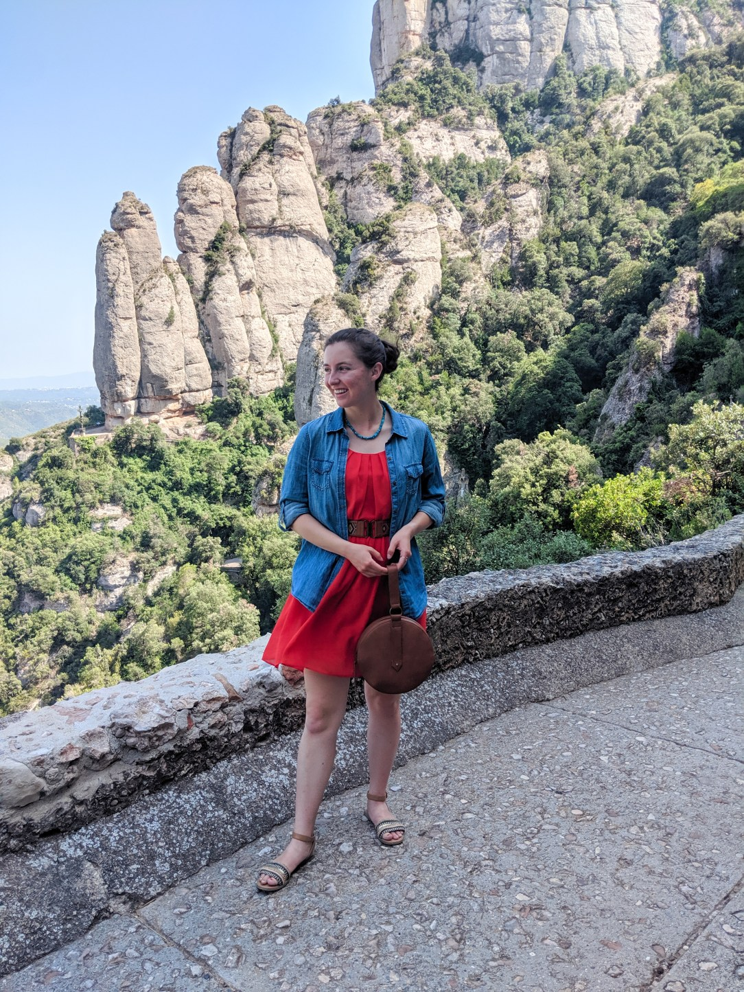 Montesserat day trip, Barcelona, mountain views, red dress