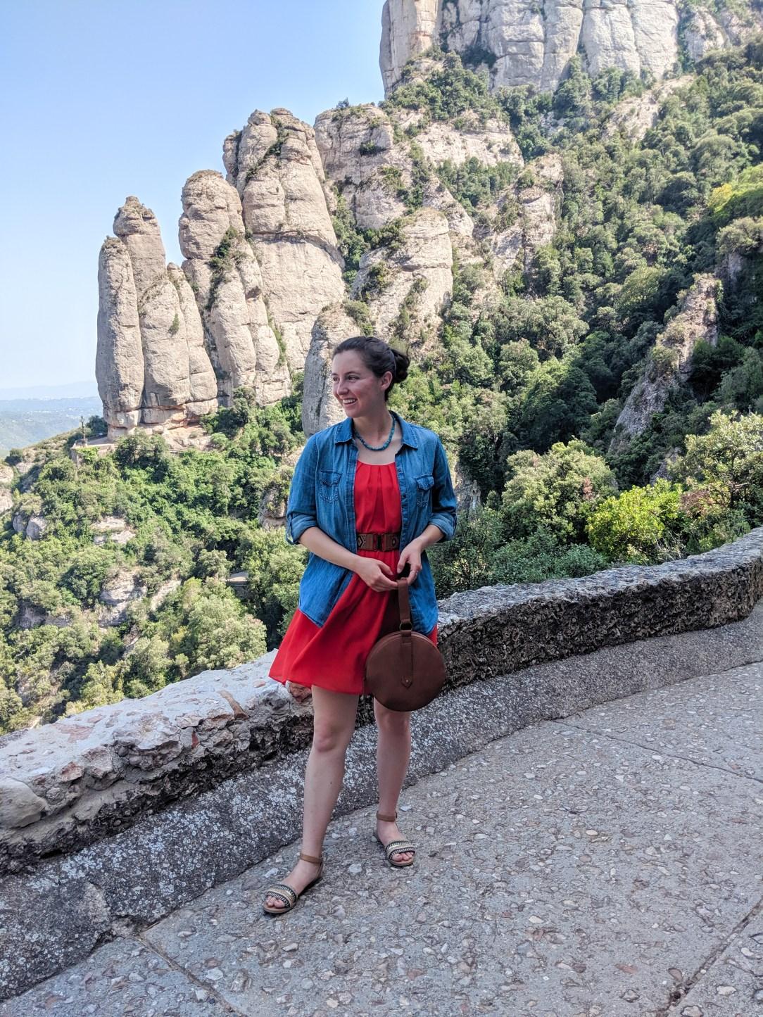 Montesserat day trip, Barcelona, mountain views, red dress