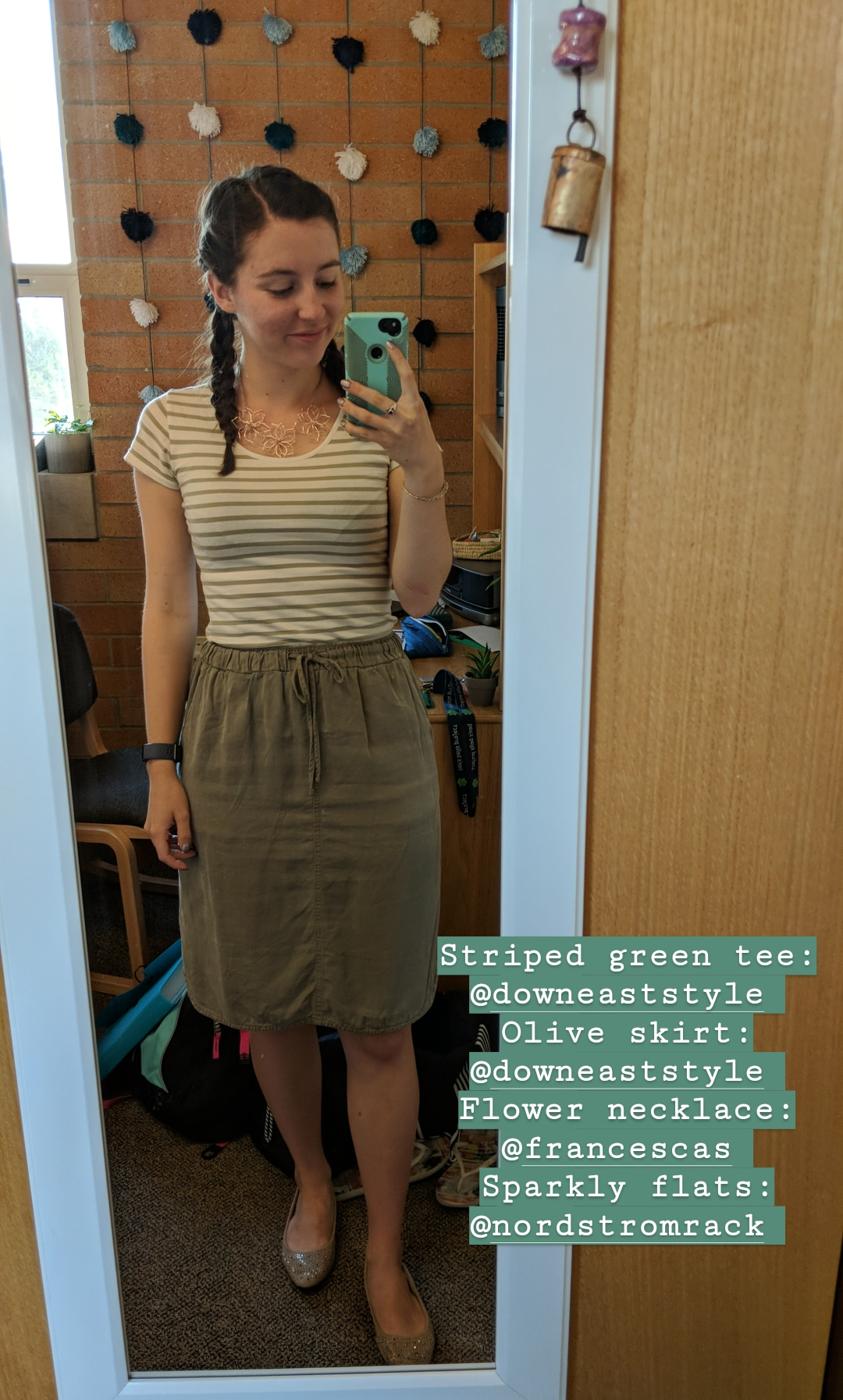 olive striped tee, olive skirt, Down East style
