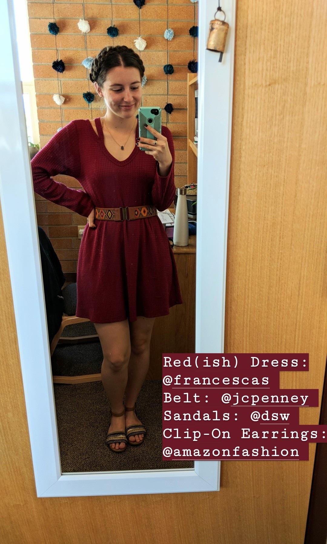 red dress, Francesca's, brown sandals, milkmaid braids