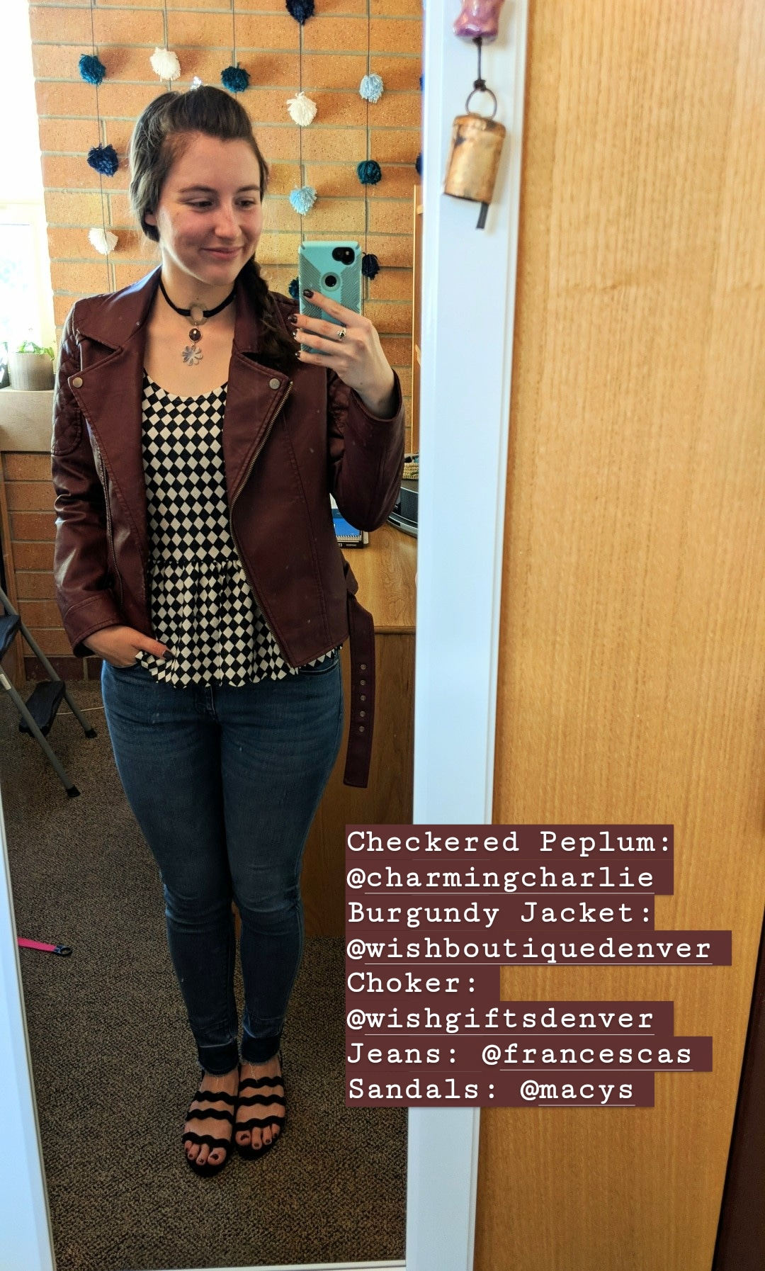 checkered peplum top, fall outfit, burgundy jacket