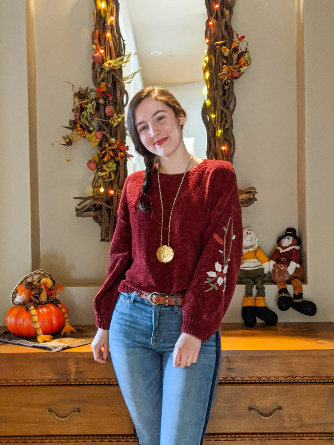 thanksgiving outfit, holiday look, sweater weather