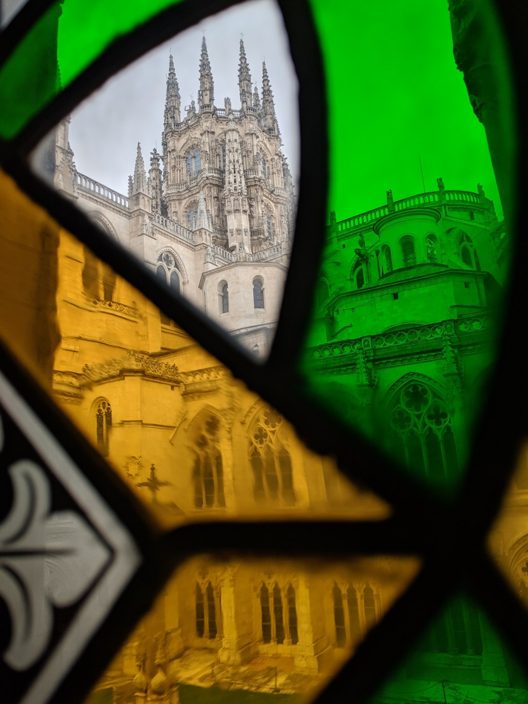 Burgos, cathedral, stained glass windows, Camino