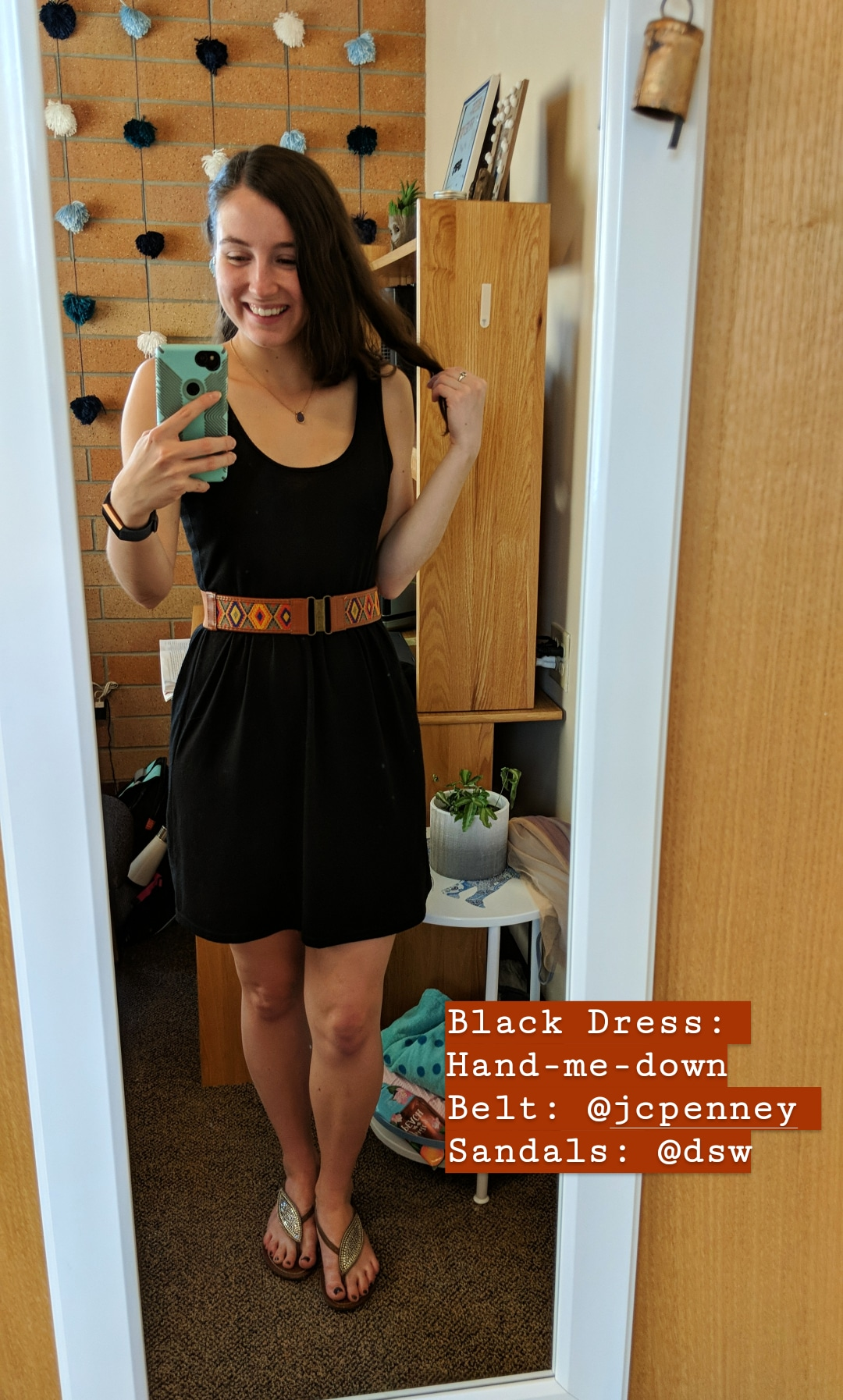 black dress, hand-me-down, leaf sandals, casual fall outfit
