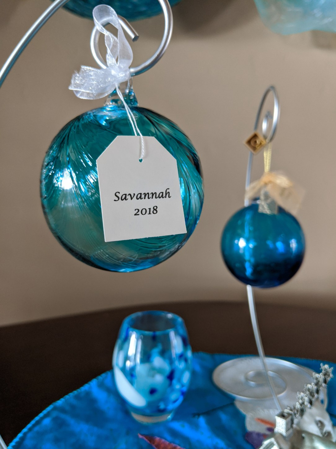 gifts that give back, blue ornaments