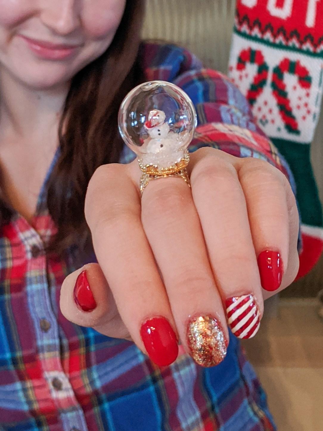 snowman jewelry, glam winter nails