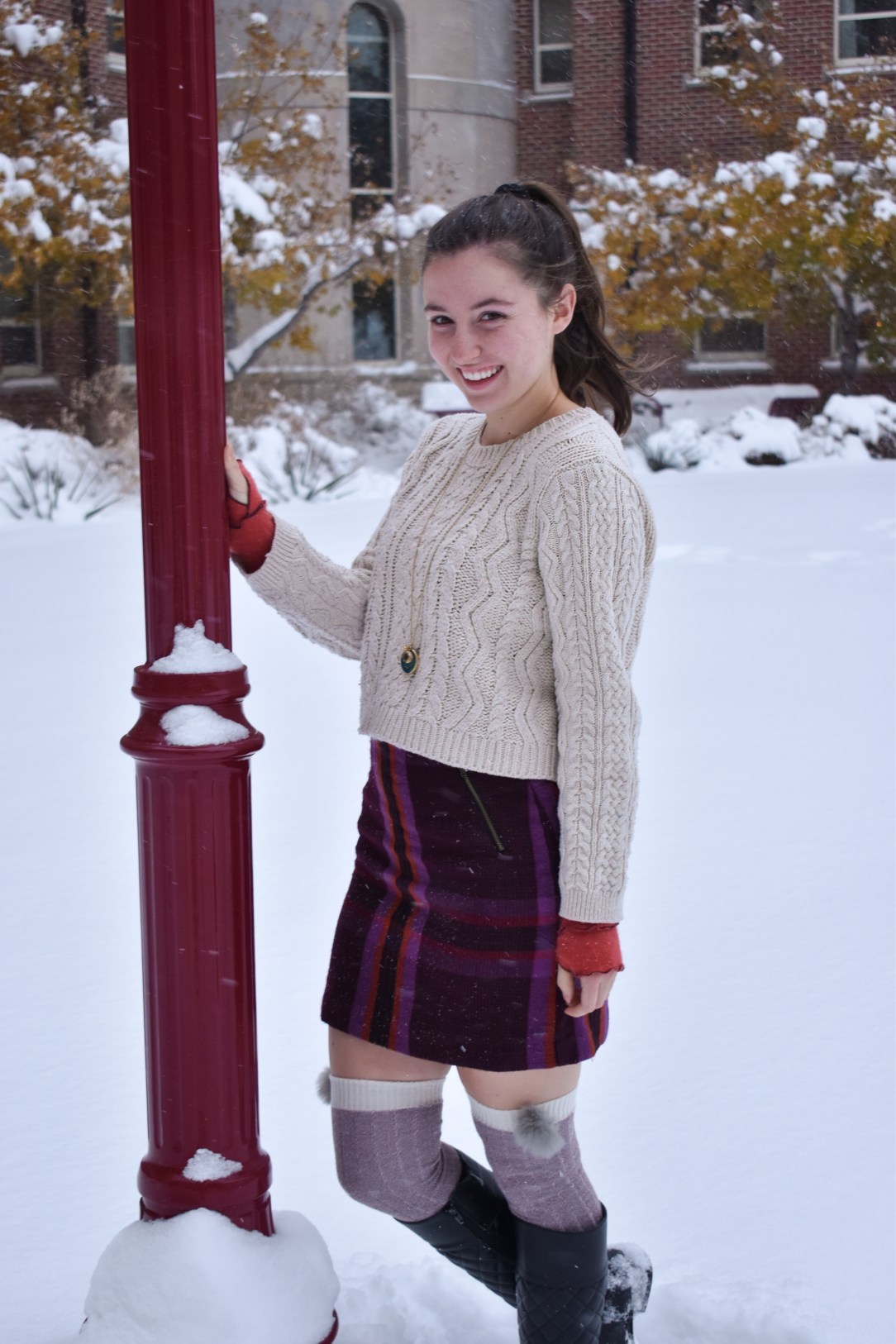 cableknit sweater, plaid skirt, winter outfit, fashion blogging