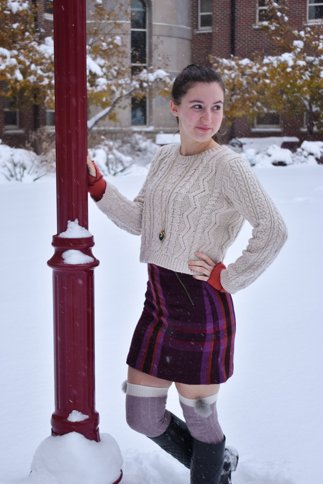 fashion blogger, plaid skirt, cableknit sweater, affordable fashion