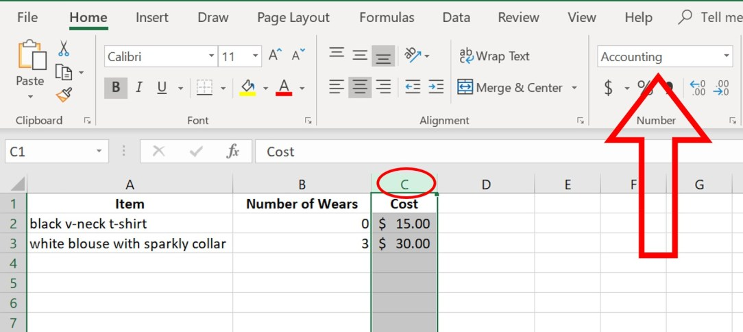 cost per wear spreadsheet