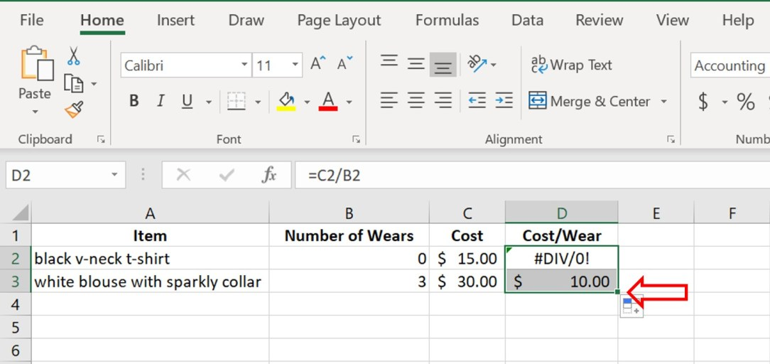 how to make a cost per wear spreadsheet
