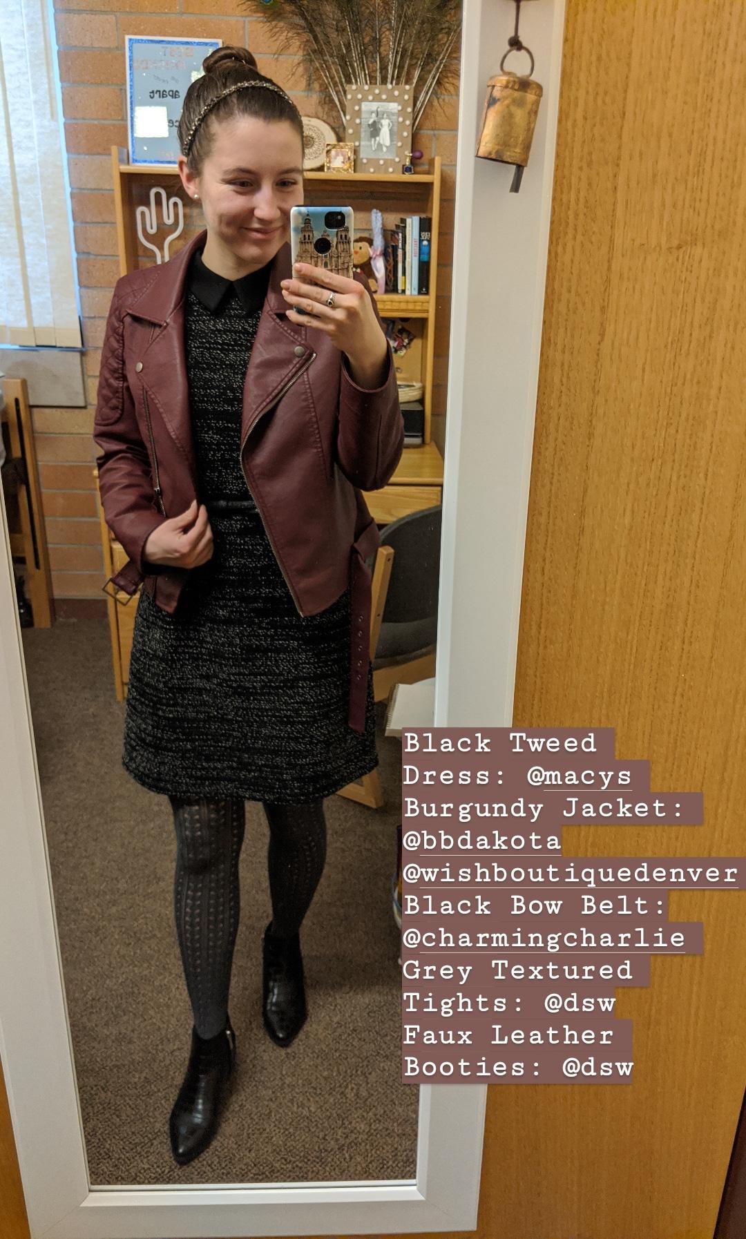 burgundy jacket, black collared dress, grey textured tights
