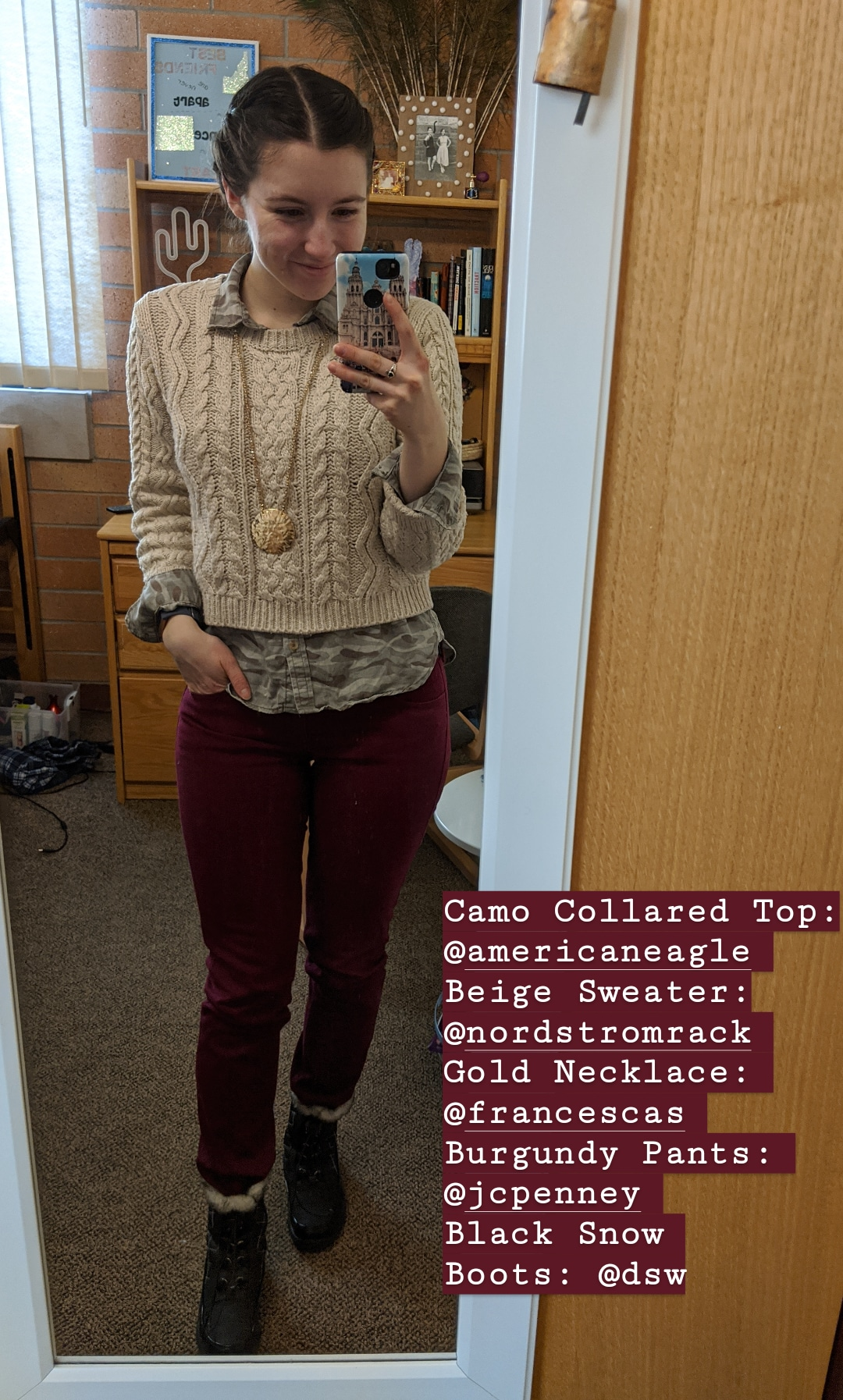 beige sweater, preppy, camo collared shirt