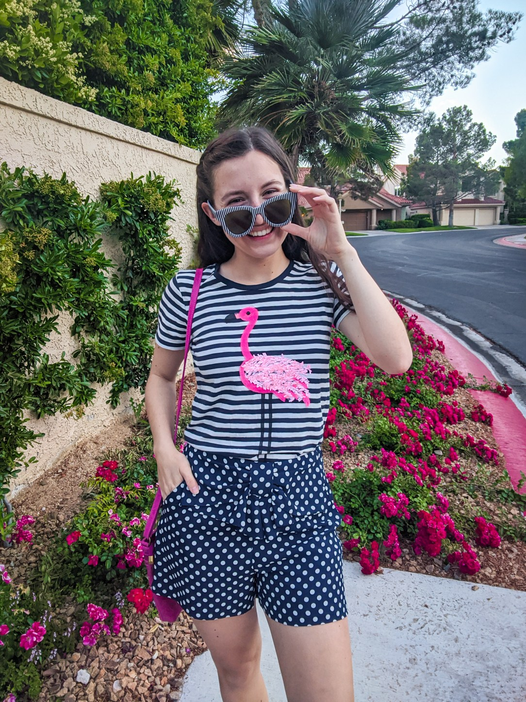 summer outfit, flamingo tee, pattern mixing, stripes and polka dots