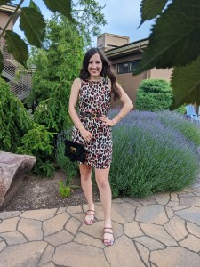 summer fashion, snakeskin sandals, leopard dress