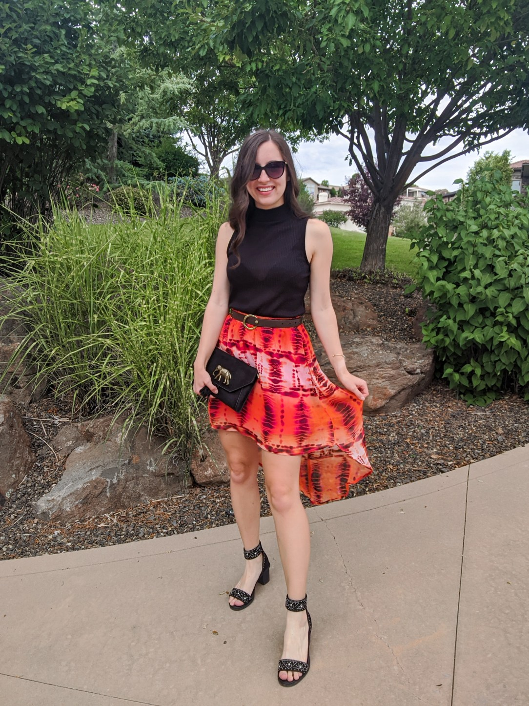 orange-skirt-summer-outfit-black-mock-neck