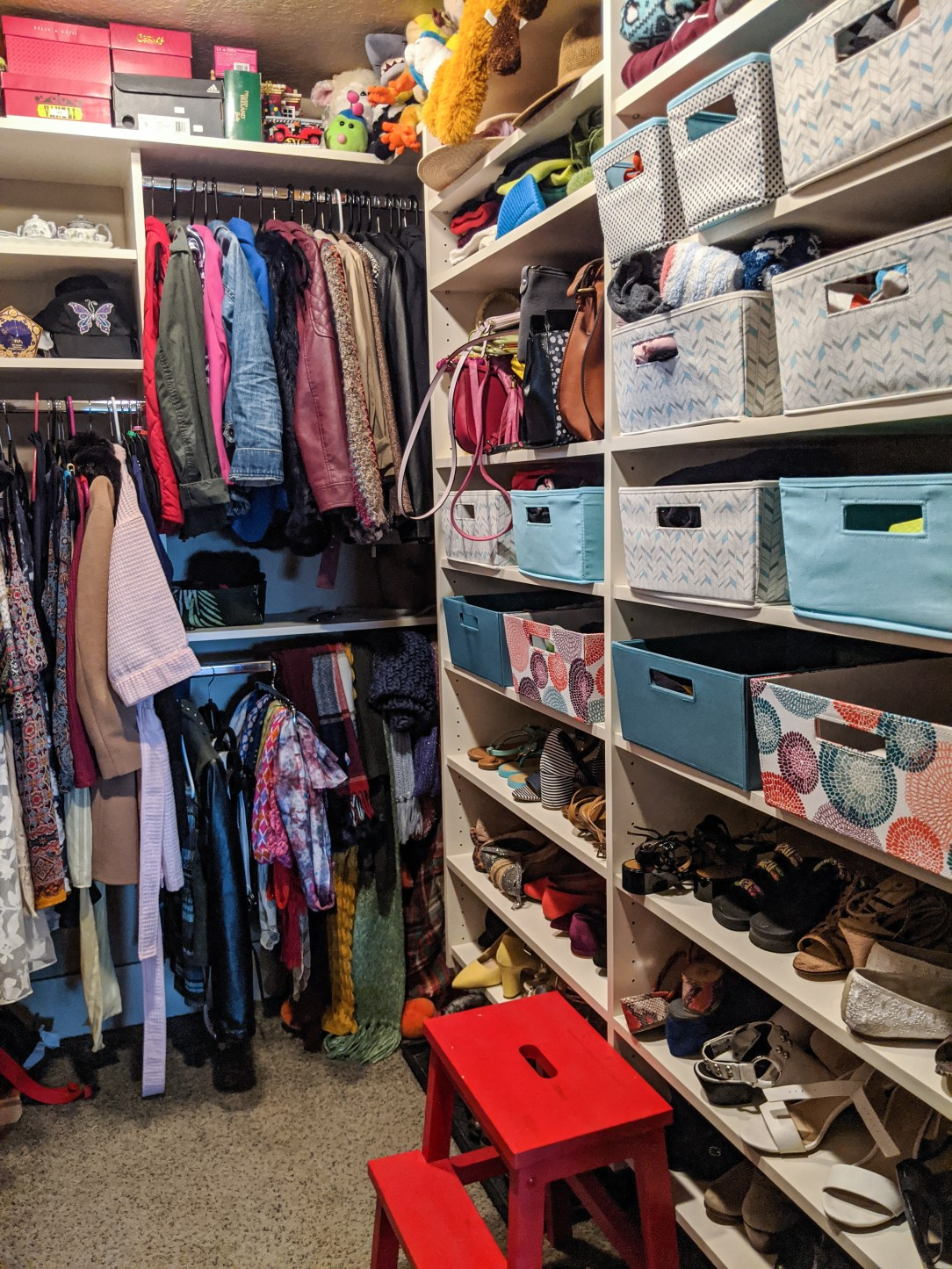 closet-shelves-fabric-bins-shoes