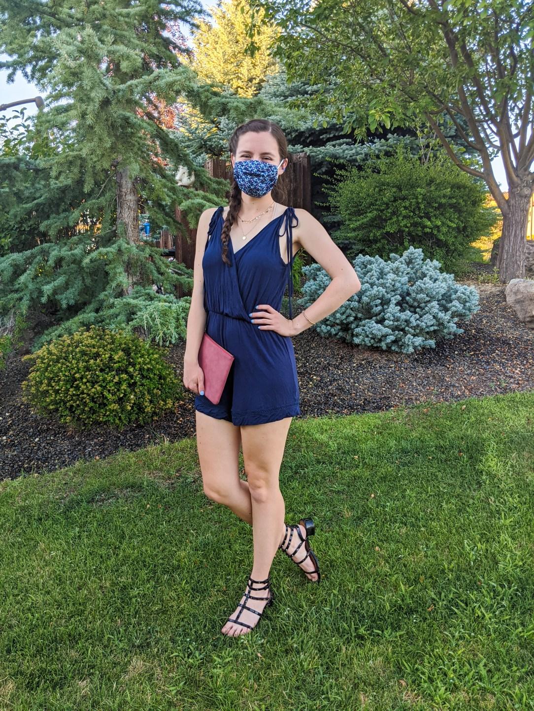 navy-blue-romper-floral-face-mask-black-sandals