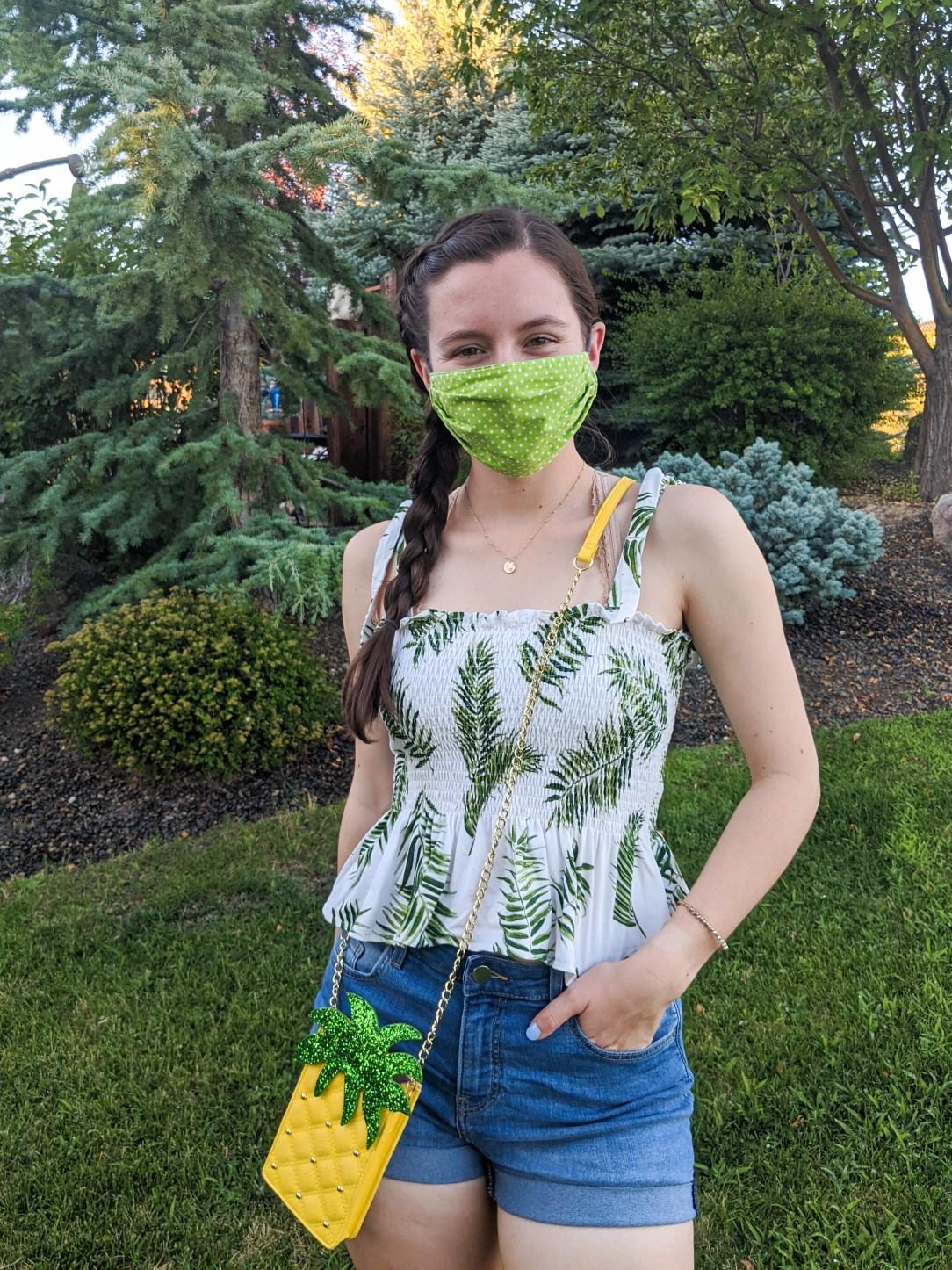 mask-fashion-polka-dot-mask-palm-print-pineapple-purse