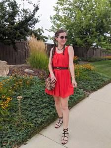 red-dress-orange-dress-summer-style-black-sandals