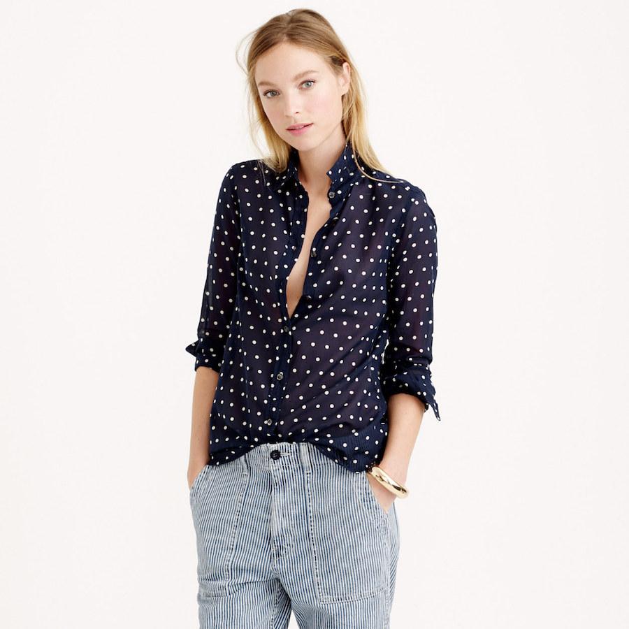 Polka dot blouse; source: JCrew