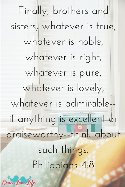 Finally, brothers and sisters, whatever is true, whatever is noble, whatever is right, whatever is pure, whatever is lovely, whatever is admirable--if anything is excellent or praiseworthy--think about suc (1)