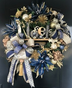 Navy and Gold Christmas Wreath