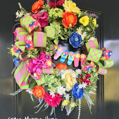 Beautiful handcrafted summer wreath by Grace Monroe Home