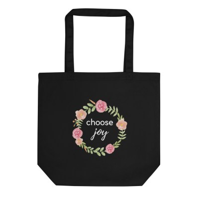 Black Choose Joy Canvas Bag