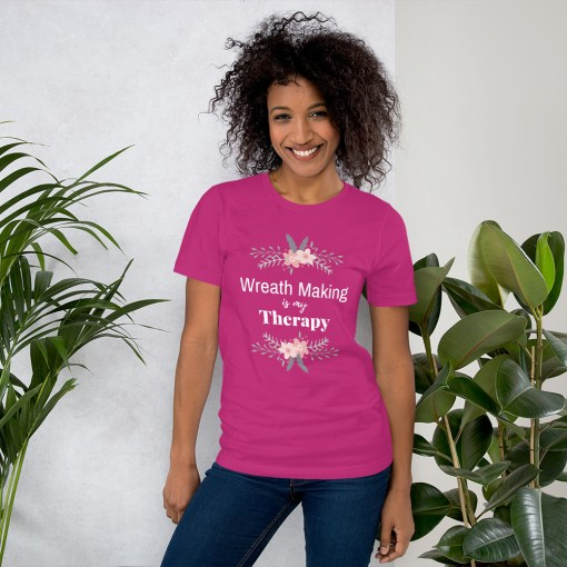 Pink Wreath Making is Therapy T-Shirt