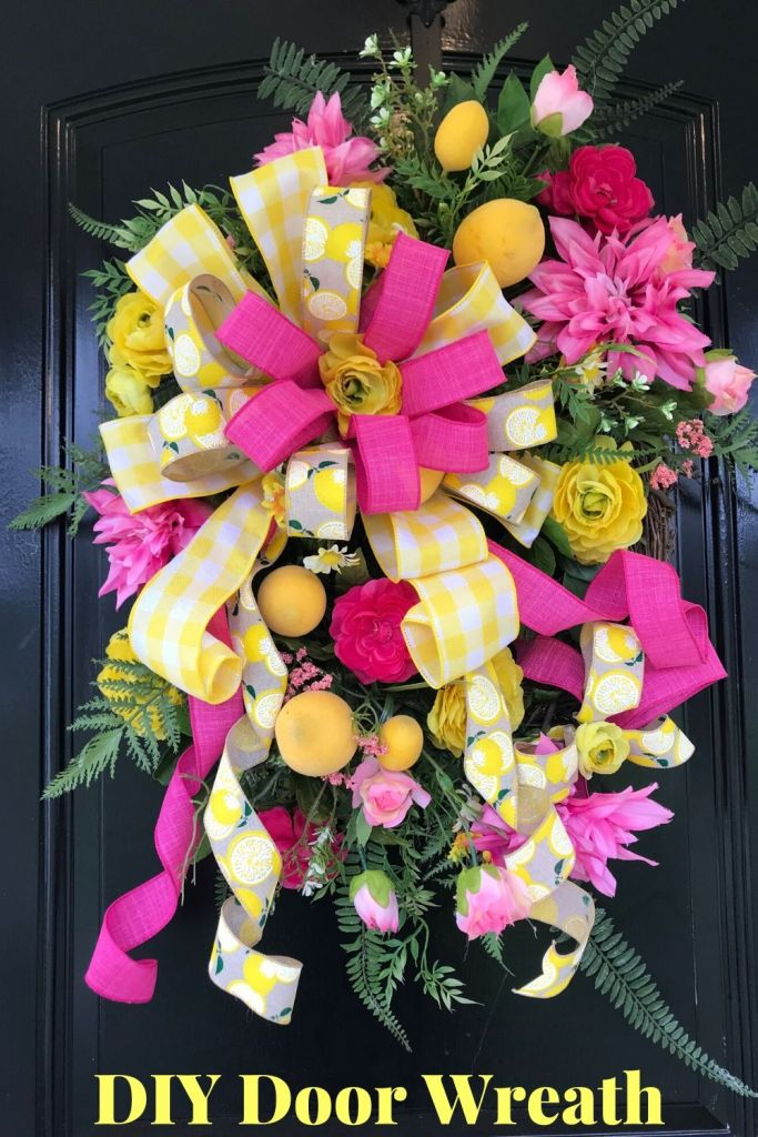 Pretty Pink & Yellow Wreath with Lemons