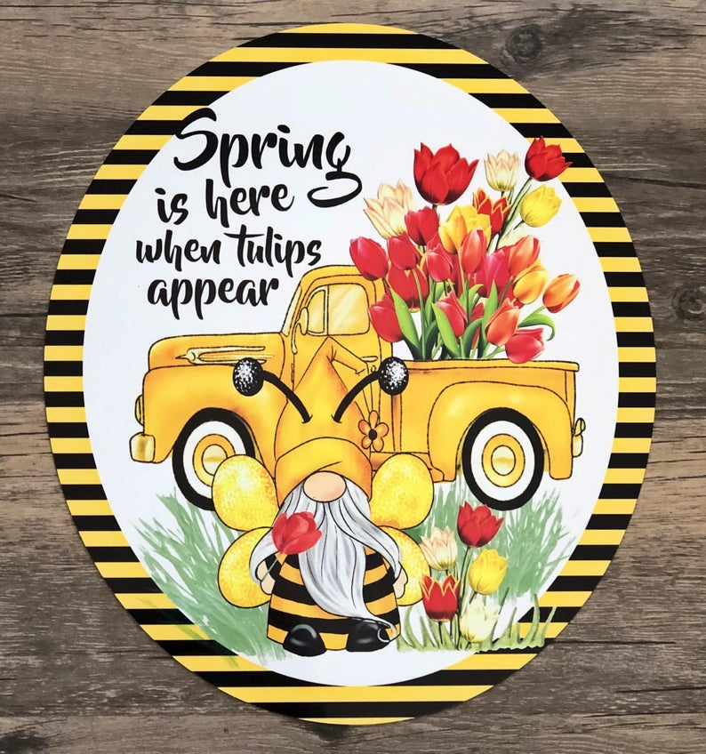 Spring Gnome Sign for Wreath