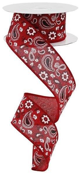 Red Bandanna Paisley Ribbon