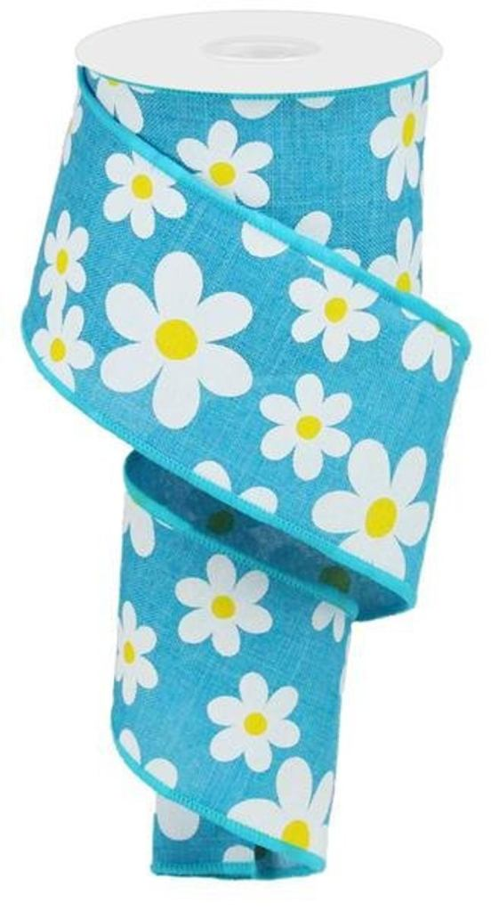Turquoise Daisy Floral Wired Ribbon