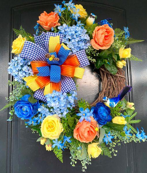 Beautiful Front Door Wreath for Spring & Summer