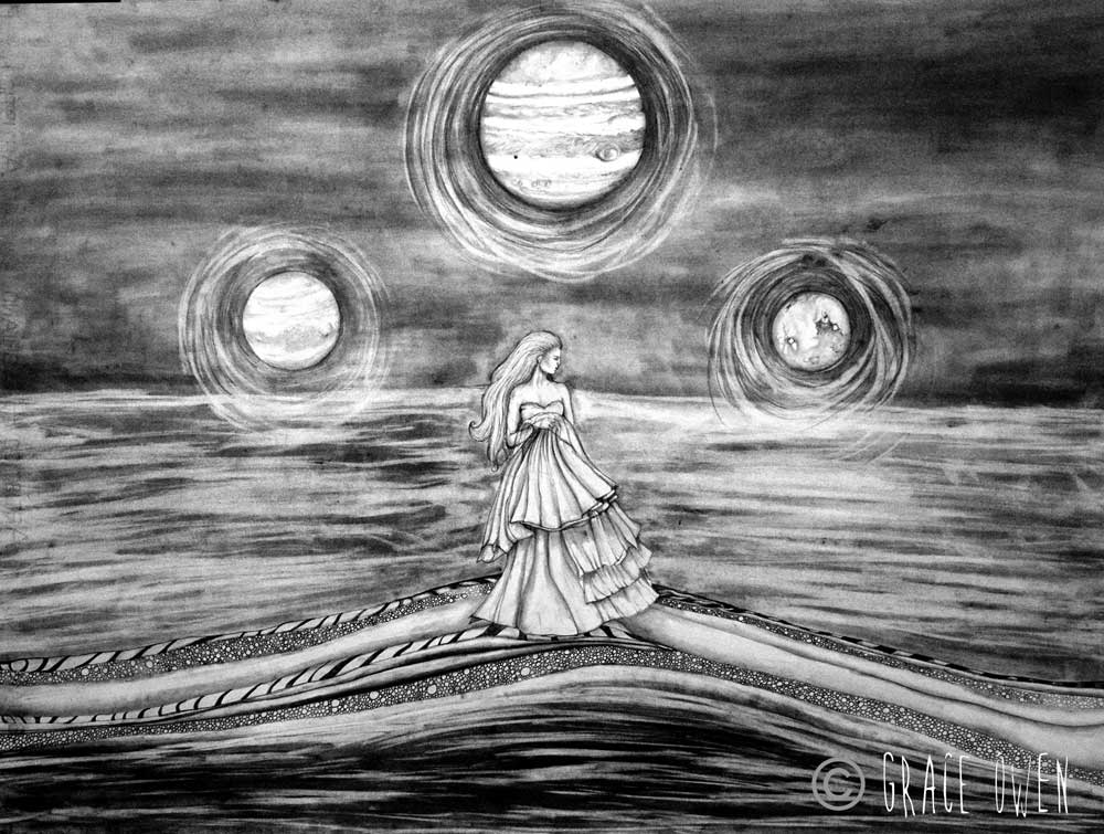 Graphite drawing of a lady and 3 planets.