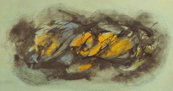 Grace Renzi : N° 109 : 1960's, black ink and acrylic (on paper), 17 x 32 cm.