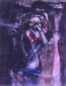Grace Renzi : N° 171 : 1975, black ink, watercolor, 30 x 25 cm.