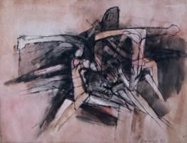 Grace Renzi : N° 68 : 1963, ink + watercolor on paper, 25 x 33 cm.