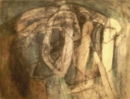 Grace Renzi : N° 69 : 1963, black + colored ink on paper, 25 x 32 cm.
